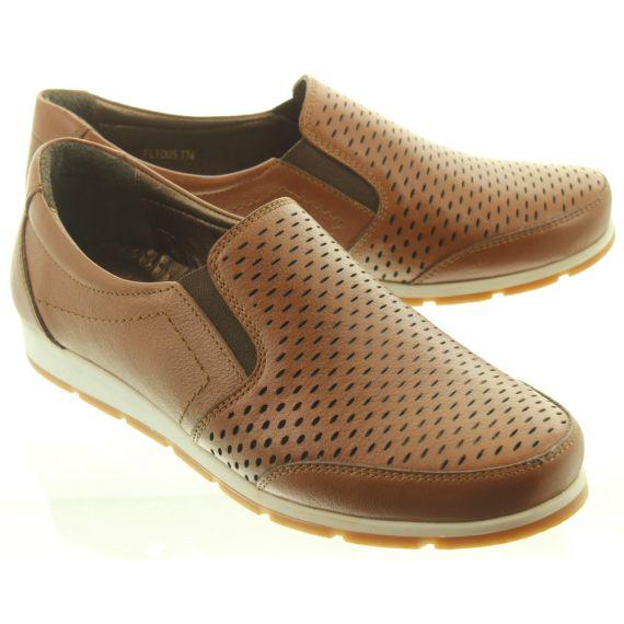 LUNAR Ladies FLT005 Cora Loafer Shoes In Tan