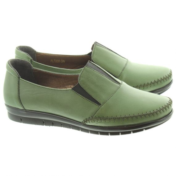 LUNAR Ladies FLT008 Lilly Loafers In Green