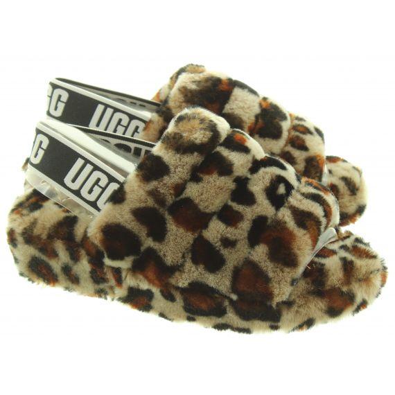 UGG Ladies Fluff Yeah Slides In Leopard