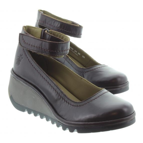 FLY Ladies Name Wedge Shoes in Wine
