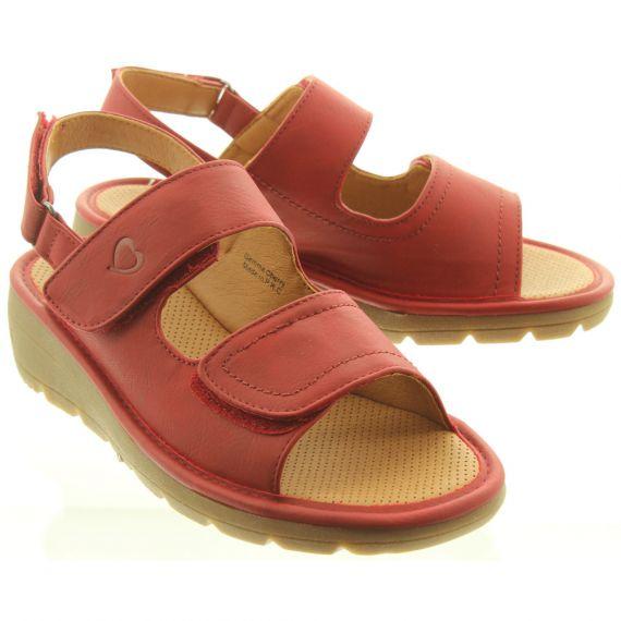 HEAVENLY FEET Ladies Gemma Velcro Sandals In Red