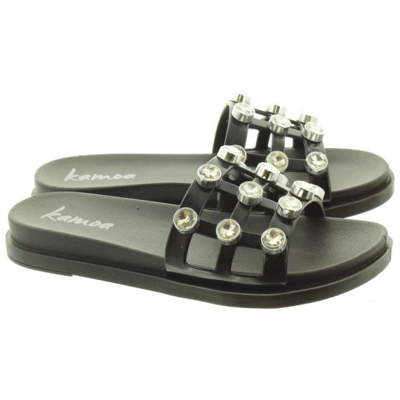 KAMOA Ladies Glam Stud Slide Sandals In Black