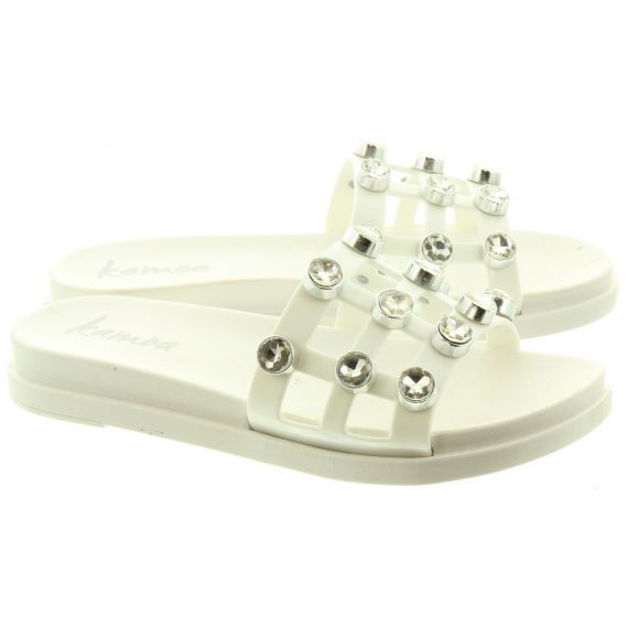 KAMOA Ladies Glam Stud Slide Sandals In White
