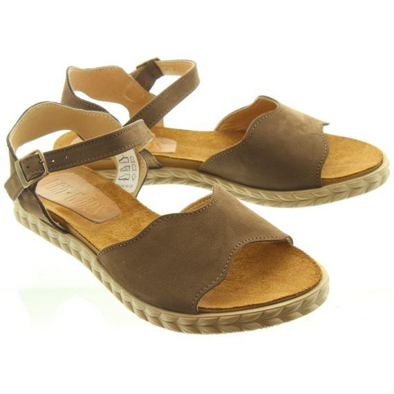 LAN_KARS Ladies H33 Flat Sandals In Brown