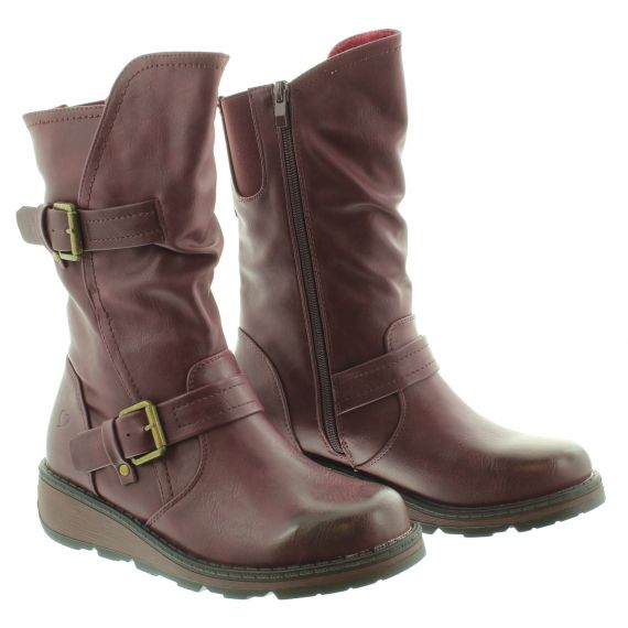 HEAVENLY FEET Ladies Hannah2 Flat Calf Boot in Berry