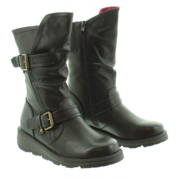 HEAVENLY FEET Ladies Hannah2 Flat Calf Boot in Black
