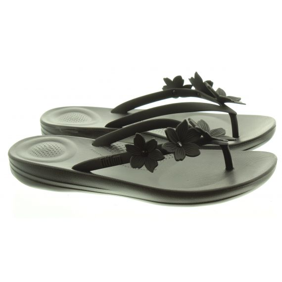 FITFLOP LADIES IQUSHION FLORAL SANDAL IN BLACK