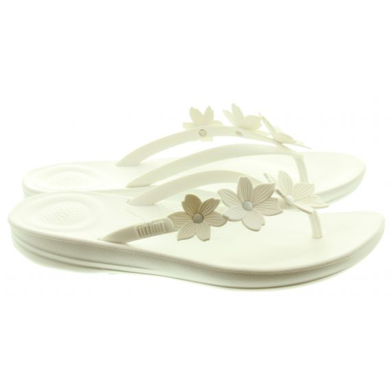 FITFLOP Ladies Iqushion Floral Toe Post Sandals In White