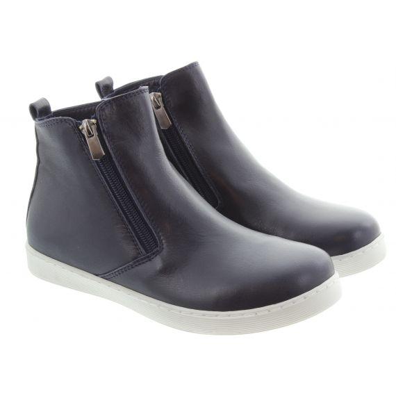 LUNAR Ladies Jayde Zip Ankle Boots In Navy