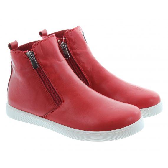 LUNAR Ladies Jayde Zip Ankle Boots In Red