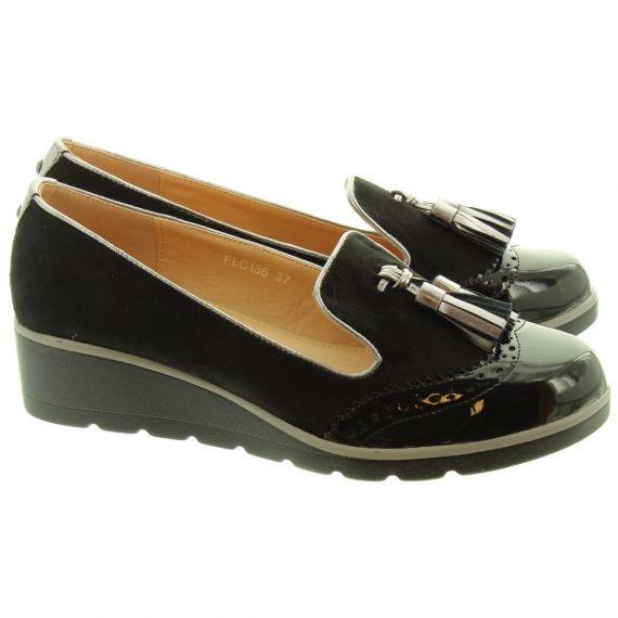 LUNAR Ladies Karina Low Wedge FLC136 Shoes In Black