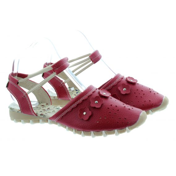 LACEYS Ladies Kit Full Toe Sandals In Red