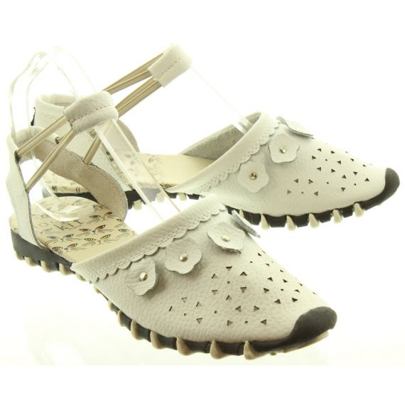 LACEYS Ladies Kit Full Toe Sandals In White