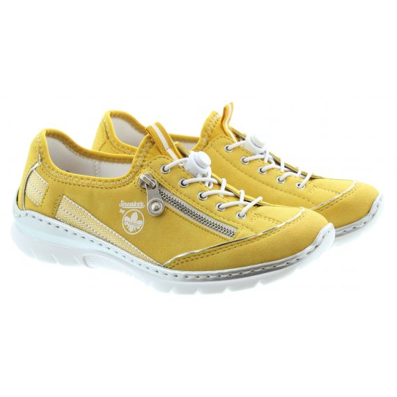 RIEKER Ladies L32T4 Elastic Lace Shoes In Yellow
