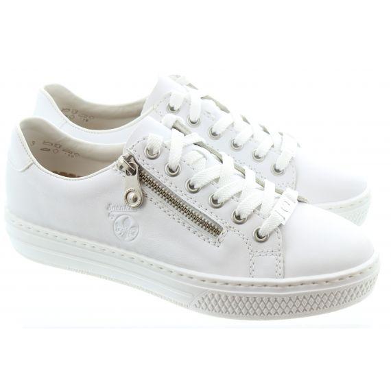 RIEKER Ladies L59L1 Zip Trainer in White