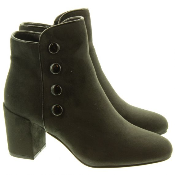 LUNAR Ladies Larni Button Boots In Black