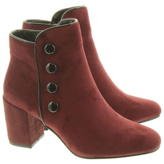 LUNAR Ladies Larni Button Boots In Burgundy