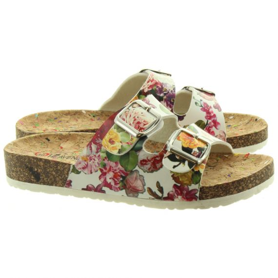 HEAVENLY FEET Ladies Louise Floral Footbed Sandals In White