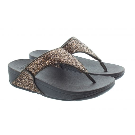 FITFLOP Ladies Lulu Glitter Toe Post Sandals In Chocolate