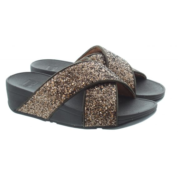 FITFLOP Ladies Lulu Glitter Slide Sandals In Chocolate