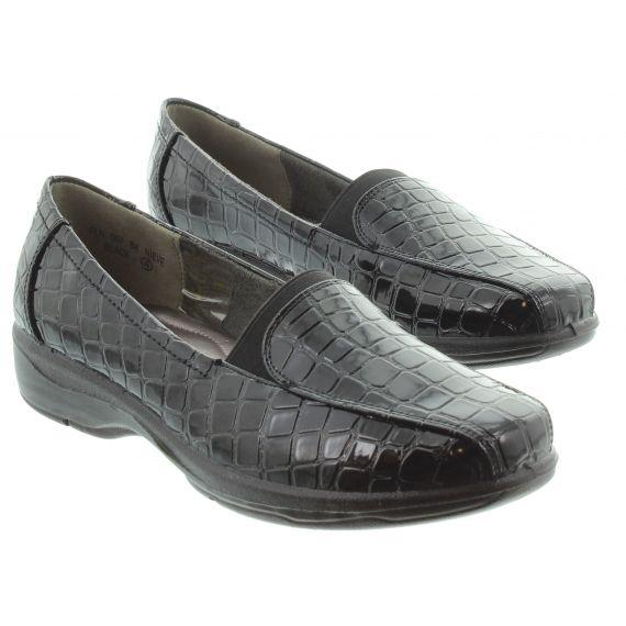 LUNAR Ladies Lunar Nieve Croc Loafer In Black Patent