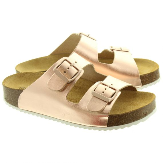 OAK AND HYDE Ladies Malaga Buckle Sandals In Rose Gold