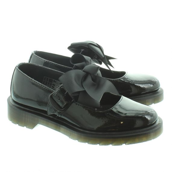 DR MARTENS Ladies Mariel Bow Bar Shoes in Black Patent