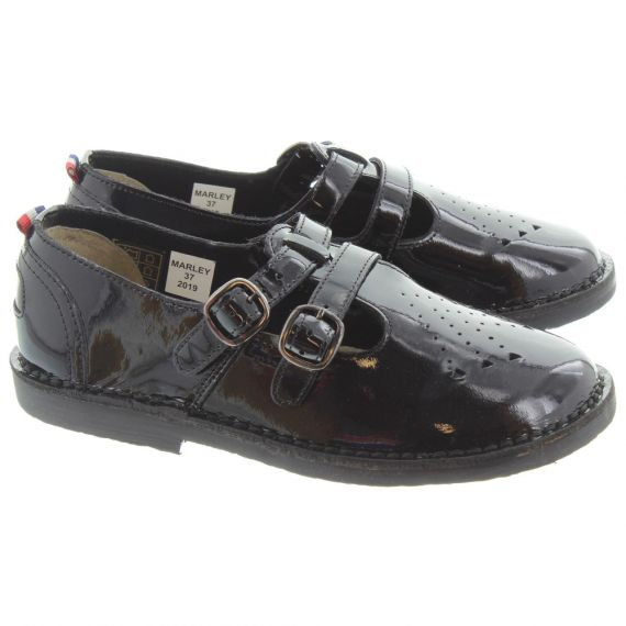 POD Ladies Marley T-Bar Shoes In Black Patent