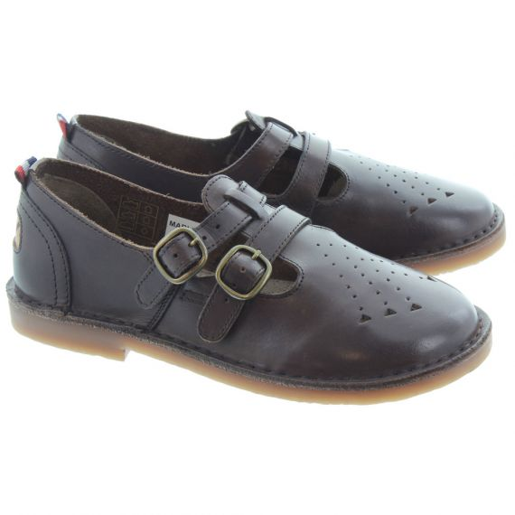 POD Ladies Marley T-Bar Shoes In Brown