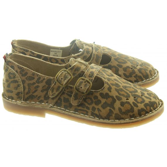 POD Ladies Marley T-Bar Shoes In Leopard