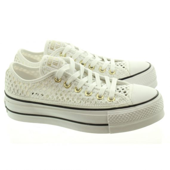 CONVERSE Ladies Mesh Lift Ox Shoes In White