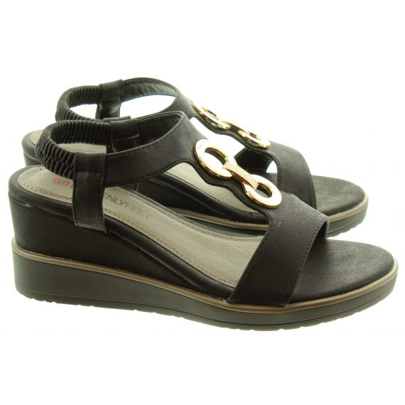 HEAVENLY FEET Ladies Milena Vegan Wedge Sandals In Black