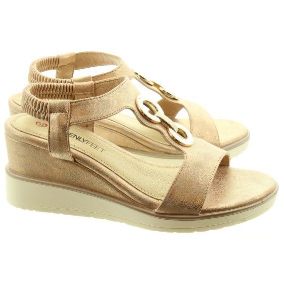 HEAVENLY FEET Ladies Milena Vegan Wedge Sandals In Rose Gold