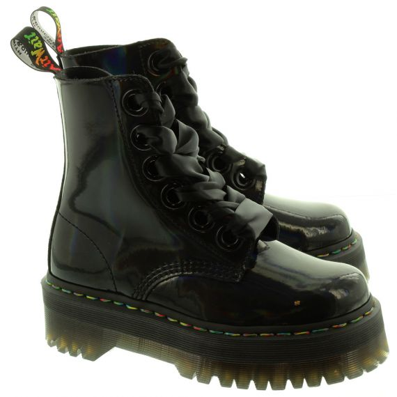 DR MARTENS Ladies Molly Rainbow Boots In Black Patent.