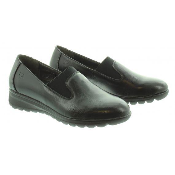HEAVENLY FEET Ladies Naples Wedge Loafer in Black