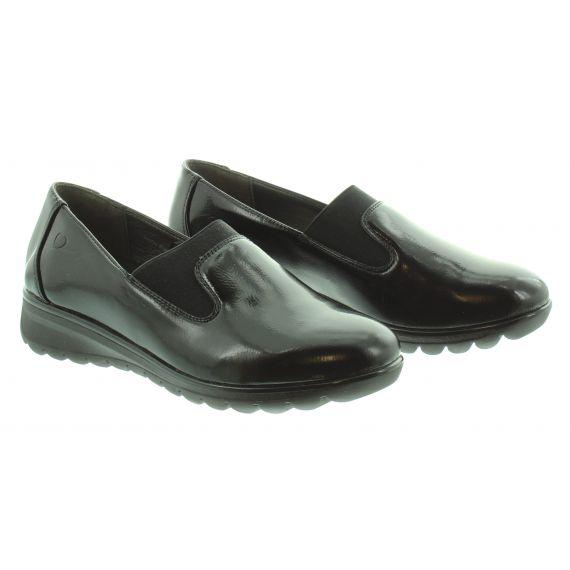 HEAVENLY FEET Ladies Naples Wedge Loafer in Black Patent