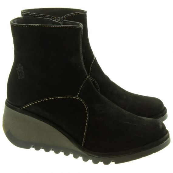 FLY Ladies Nest Wedge Ankle Boots In Black