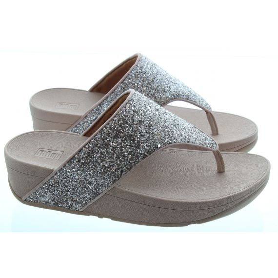 FITFLOP Ladies Olive Glitter Mix Toe Post Sandals in Coral Pink