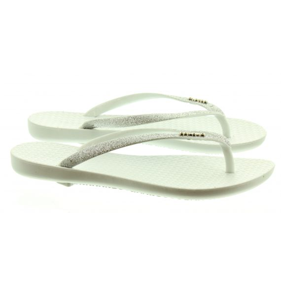 COLOKO Ladies Orchid Glitter Toe Post Sandals In White