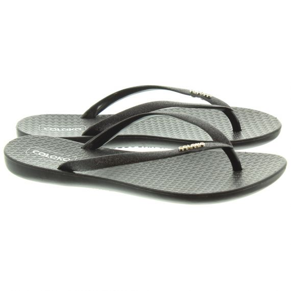COLOKO Ladies Orchid Toe Post Sandals In Black