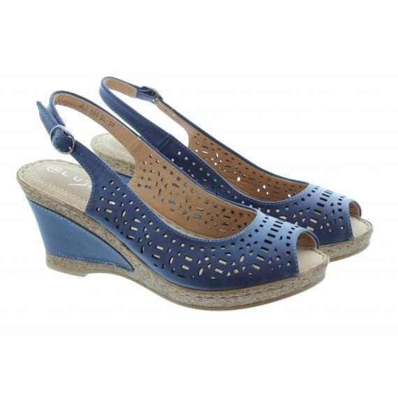 LUNAR Ladies Phoenix Wedge Sandals In Navy