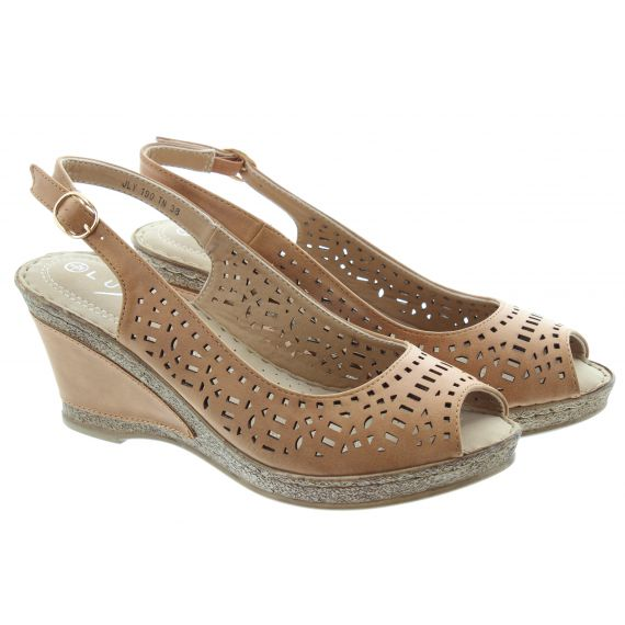 LUNAR Ladies Phoenix Wedge Sandals In Tan