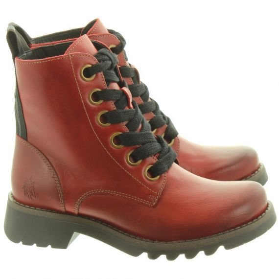 FLY Ladies Ragi Ankle Boots In Red