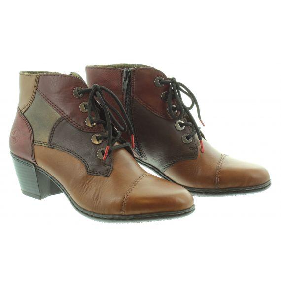 RIEKER Ladies Rieker 2133 Heel Lace Ankle Boot in Tan