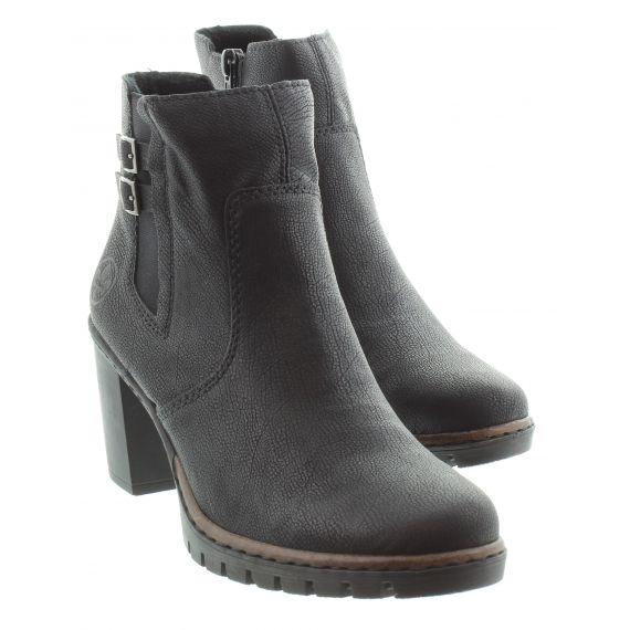 RIEKER Ladies Rieker 2569 Heel Ankle Boots in Black