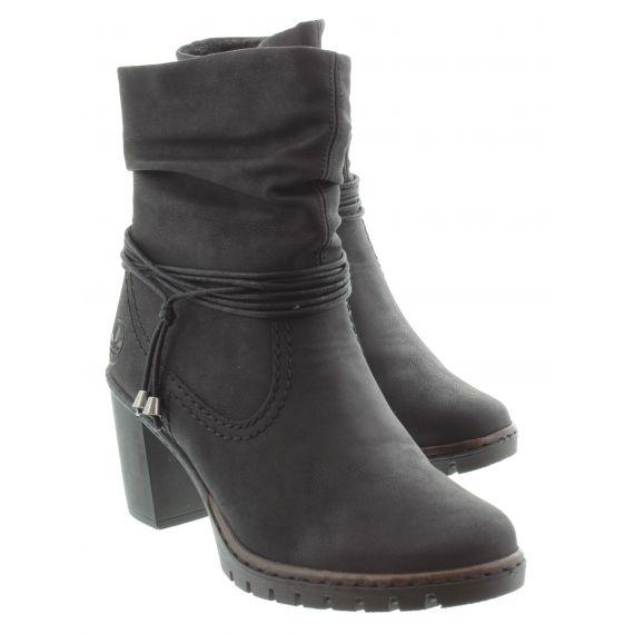 RIEKER Ladies Rieker 2591 Heel Ankle Boots in Black