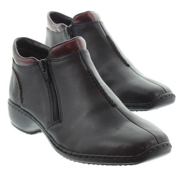 RIEKER Ladies Rieker 3882 Flat Zip Boot in Black