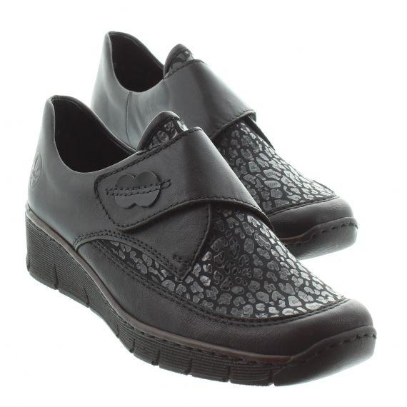 RIEKER Ladies Rieker 537 Velcro Wedge Shoe in Black