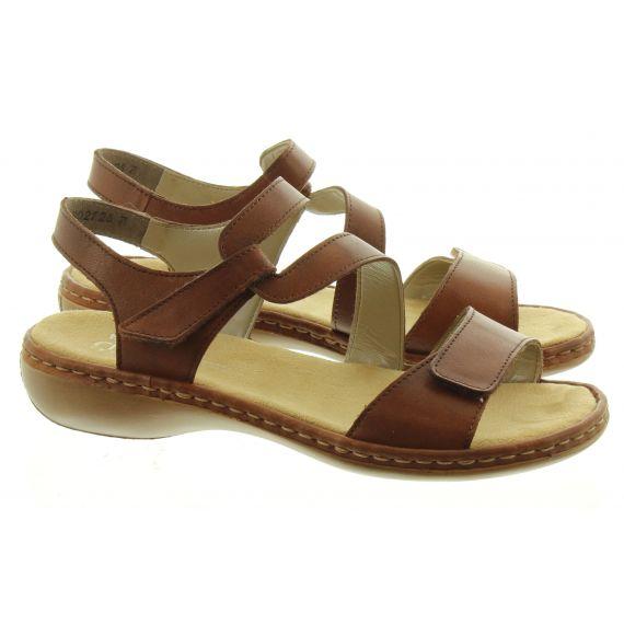 RIEKER Ladies 659C7 Flat Sandals in Tan