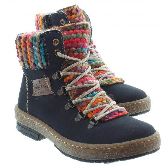 RIEKER Ladies Rieker 6743 Lace Ankle Boots in Navy